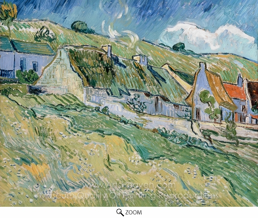 Vincent Van Gogh, A Group of Cottages oil painting reproduction