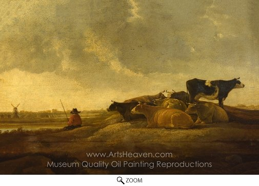 Aelbert Cuyp, A Herdsman with Seven Cows by a River oil painting reproduction