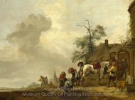A Horse being Shod Outside a Village Smithy painting reproduction, Philips Wouwerman