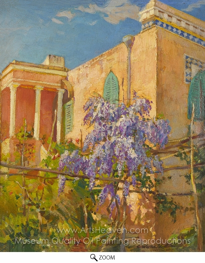 Constantin A. Westchiloff, A House with Flowering Trees oil painting reproduction