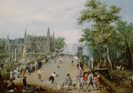 A Jeu de Paume Before a Country Palace painting reproduction, Adriaen Van De Venne