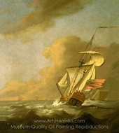 A Ketch-Rigged Royal Yacht in a Breeze painting reproduction, Johan Van Der Hagen
