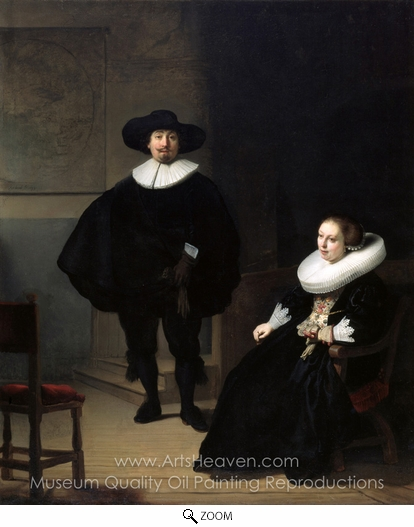 Rembrandt Van Rijn, A Lady and Gentleman in Black oil painting reproduction