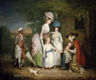 A Lady and Her Children Relieving a Cottager painting reproduction, William Redmore Bigg