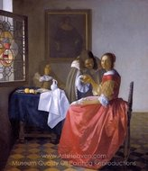 A Lady and Two Gentlemen painting reproduction, Jan Vermeer
