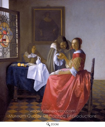 Jan Vermeer, A Lady and Two Gentlemen oil painting reproduction