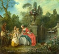 A Lady in a Garden Taking Coffee with some Children painting reproduction, Nicolas Lancret