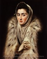 A Lady in Fur Wrap painting reproduction, El Greco