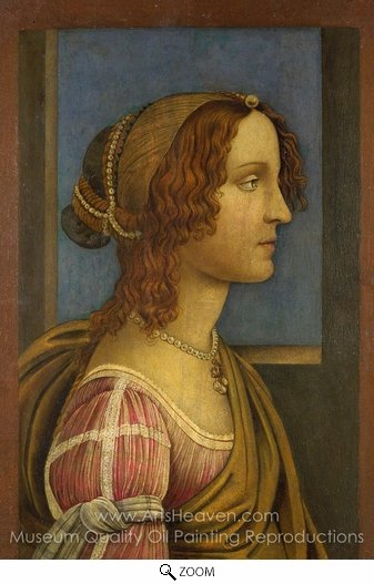 Sandro Botticelli, A Lady in Profile oil painting reproduction