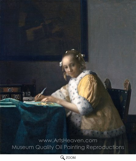 Jan Vermeer, A Lady Writing a Letter oil painting reproduction