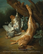 A Landscape with a Brace of Partridges and a Hare painting reproduction, Jean-Baptiste Oudry