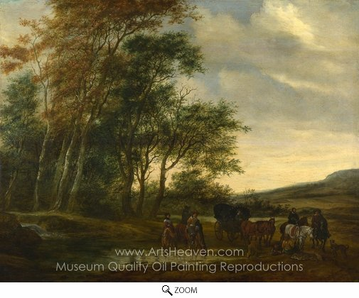 Salomon Van Ruysdael, A Landscape with a Carriage and Horsemen at a Pool oil painting reproduction