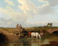 A Landscape with a Cart at a Ford, with Horses Watering painting reproduction, Jacques Laurent Agasse