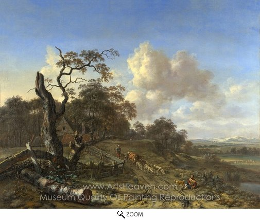 Jan Wijnants, A Landscape with a Dead Tree oil painting reproduction