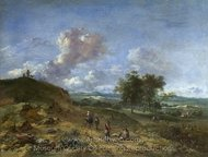 A Landscape with a High Dune and Peasants on a Road painting reproduction, Jan Wijnants