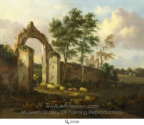 Jan Wijnants, A Landscape with a Ruined Archway oil painting reproduction