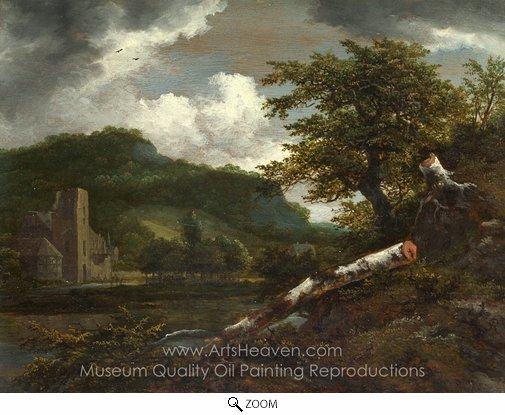 Jacob Van Ruisdael, A Landscape with a Ruined Building oil painting reproduction