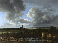 A Landscape with a Ruined Castle and a Church painting reproduction, Jacob Van Ruisdael