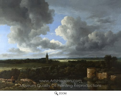 Jacob Van Ruisdael, A Landscape with a Ruined Castle and a Church oil painting reproduction