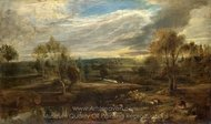 A Landscape with a Shepherd and His Flock painting reproduction, Peter Paul Rubens
