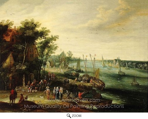 Jan Brueghel, A Landscape with a Village on the Bank of a River oil painting reproduction
