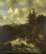 A Landscape with a Waterfall and a Castle on a Hill painting reproduction, Jacob Van Ruisdael