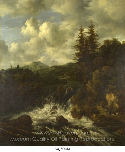Jacob Van Ruisdael, A Landscape with a Waterfall and a Castle on a Hill oil painting reproduction