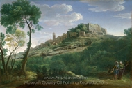 A Landscape with an Italian Hill Town painting reproduction, Hendrik Frans Van Lint