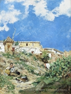 A Landscape with Figure in Sagunto, Valencia painting reproduction, Joaquin Sorolla