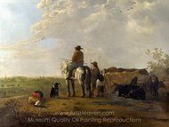 A Landscape with Horseman, Herders and Cattle painting reproduction, Aelbert Cuyp
