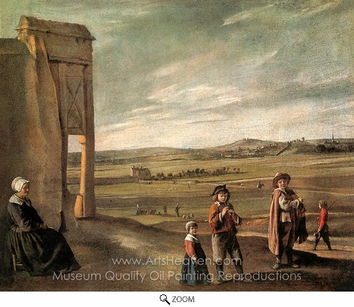 Louis Le Nain, A Landscape with Peasants oil painting reproduction