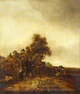 A Landscape with Peasants and a Cart painting reproduction, Isaac Van Ostade