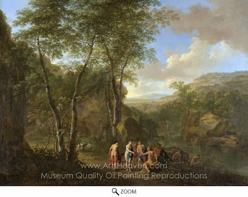 Jan Both, A Landscape with the Judgement of Paris oil painting reproduction