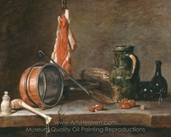 A Lean Diet with Cooking Utensils painting reproduction, Jean Simeon Chardin