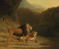 A Lion and a Lioness in a Rocky Valley painting reproduction, Jacques Laurent Agasse