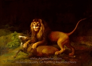 A Lion Attacking a Stag painting reproduction, George Stubbs