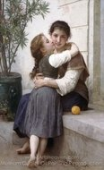 A Little Coaxing (Calinerie) painting reproduction, William A. Bouguereau