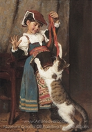 A Little Girl in Peasant Dress, Playing with a Cat painting reproduction, Peder Severin Kroyer