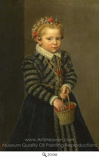 Netherlandish Painter, A Little Girl with a Basket of Cherries oil painting reproduction