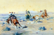 A Loose Cinch painting reproduction, Charles Marion Russell