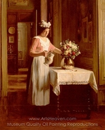 A Maid Watering Flowers painting reproduction, Franck Antoine Bail