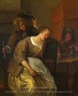 A Man Blowing Smoke at Drunken Woman painting reproduction, Jan Steen