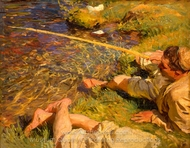 A Man Fishing painting reproduction, John Singer Sargent