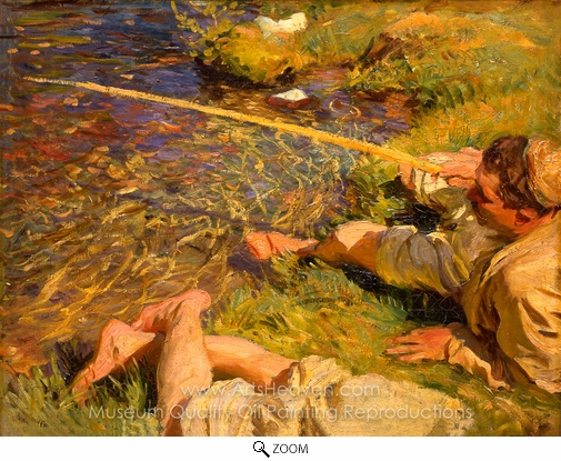 John Singer Sargent, A Man Fishing oil painting reproduction