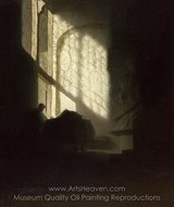 A Man Seated Reading at a Table in a Lofty Room painting reproduction, Rembrandt Van Rijn