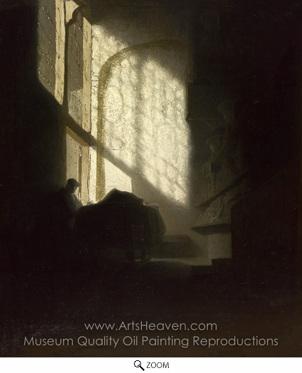 Rembrandt Van Rijn, A Man Seated Reading at a Table in a Lofty Room oil painting reproduction