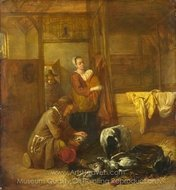A Man with Dead Birds, and Other Figures, in a Stable painting reproduction, Pieter De Hooch