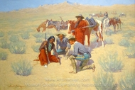 A Map in the Sand painting reproduction, Frederic Remington