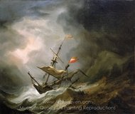 A Mediterranean Brigantine Drifting Onto a Rocky Coast in a Storm painting reproduction, Willem Van De Velde