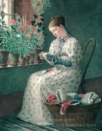 A Month's Darning painting reproduction, Enoch Wood Perry